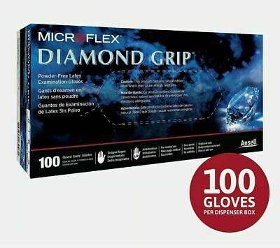 Microflex Diamond Grip Latex Gloves Large 10 Boxes Of 100 Ea 1000 Pcs Total