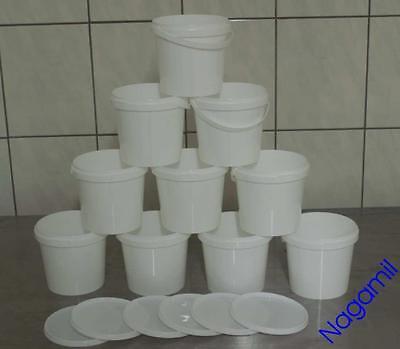 10x 1 Liter Eimer Kunststoffeimer mit Deckel, weiß, lebensmittelecht, stapelbar
