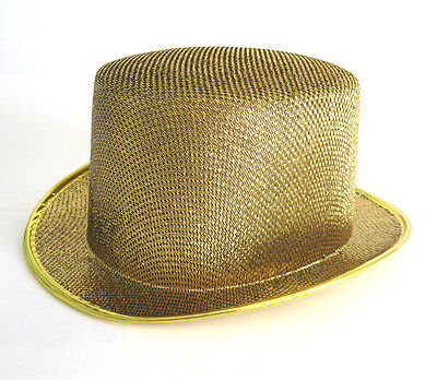 Deluxe Gold Glitter Top Hat Sexy Columbia Cap Adult Halloween Costume Hat (Gold Glitter Top Hat)