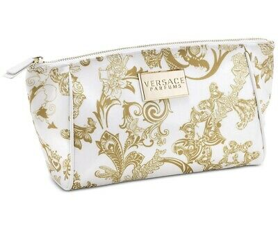 VERSACE Parfums white gold floral cosmetic makeup bag iconical fashion pouch NEW
