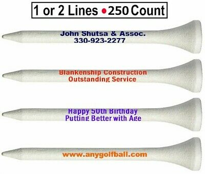 250 Customized White Golf Tees - Customized Golf Tees