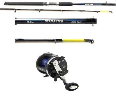 6 ft Boat Sea Fishing rod & Ls5000 Multiplier Reel & Line 2 Section 25lb Class