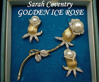 Sarah Coventry Brooch & Earrings GOLDEN ICE ROSE 1969 Ultra Fashion Collection