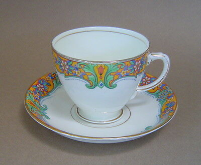Vintage SAMPSON SMITH OLD ROYAL 2906 Footed Cup & Saucer Set BONE CHINA ENGLAND