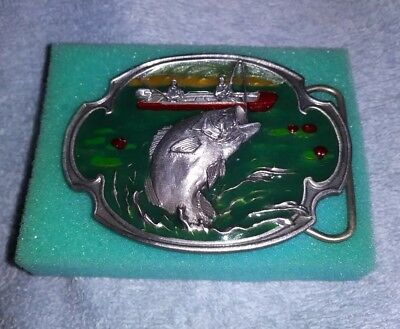 NEW Vintage Siskiyou Anglers Bass Fishing Enameled Belt Buckle 1984