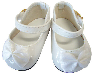 White Patent Dress Shoes W/ Satin Bows for 18