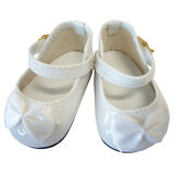 "White Patent Dress Shoes W/ Satin Bows for 18"" American Girl Doll Clothes"