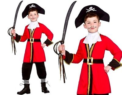 Child DELUXE CAPTAIN PIRATE Caribbean Hook Boys Fancy Dress Book Week Age 3-13Y