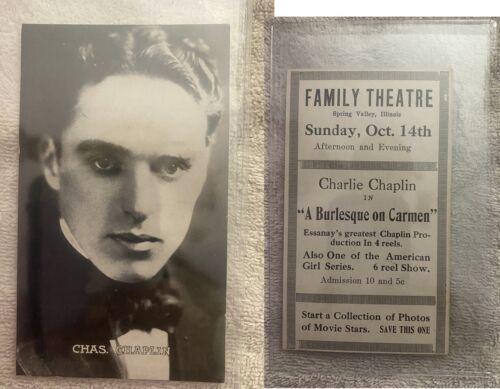 Charlie Chaplin antique 1915 Theatre Card - A Burlesque on Carmen advertising