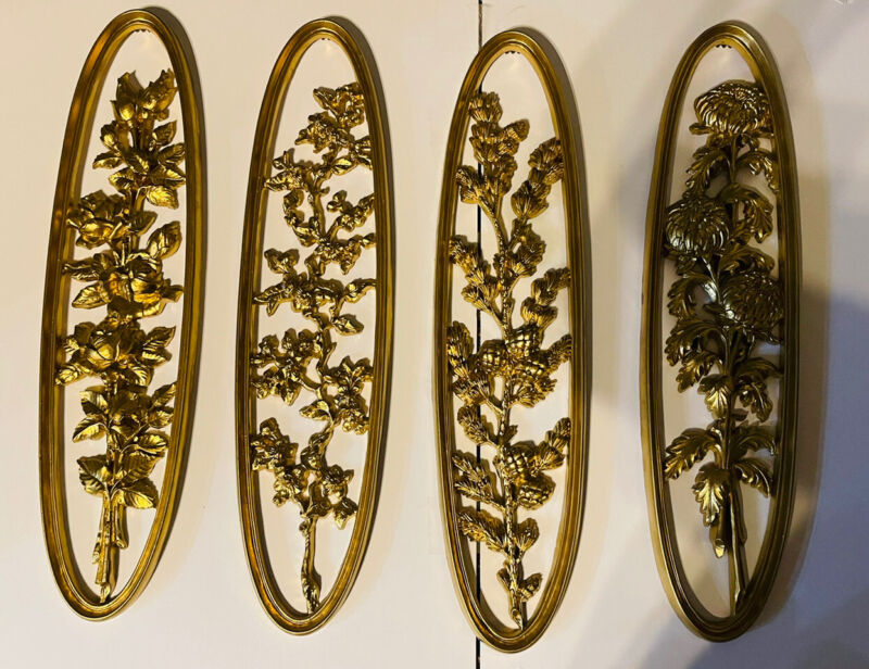 Hollywood Regency Style Gold Syroco Floral Oval Wall Plaques Retro Set of 4 21x4