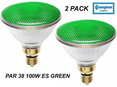Green Reflector Floodlight (2 x GREEN PAR38 100W Reflector Floodlight Light Globes / Bulbs ES)