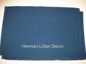 2 Solid Blue Placemats Ribbed Design 100% Cotton Victorian Heart