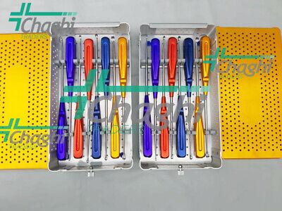 Rainbow Cervical Curettes Steel Handle Spine Instruments With Box 8 Pcs 2 Set C