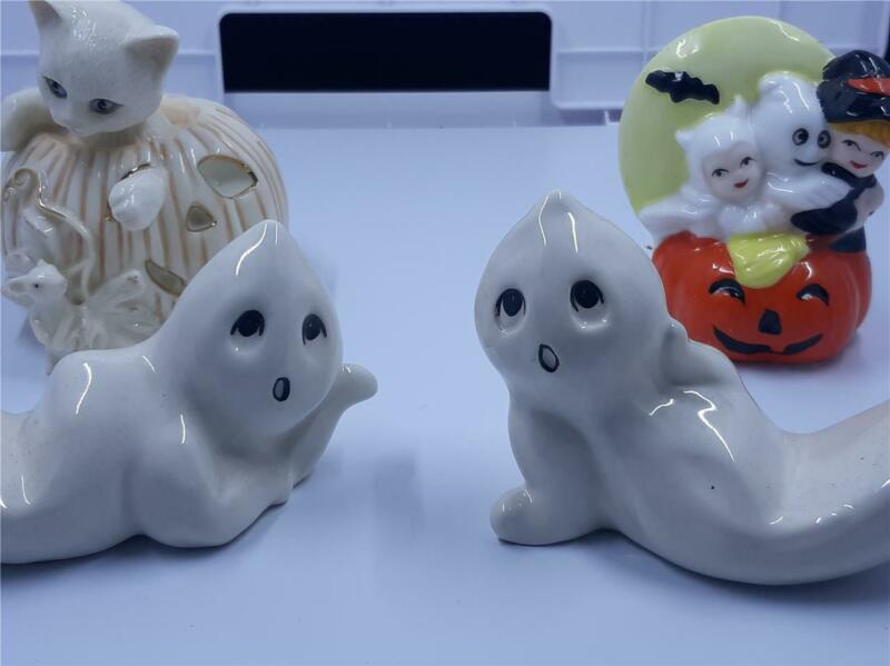 Lot 4 Halloween figurines vintage Lenox Cat, JOL, ghosts, very good