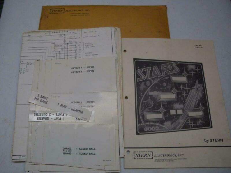 "1978 Stern ""Stars"" Pinball Machine OE Paperwork Set Manual, Schematics & Cards"