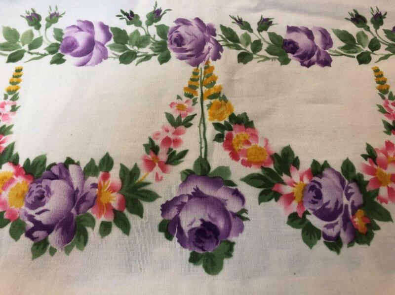 "Stunning Antique Stenciled German Show Towel Purple Roses Yellow Flowers19""x52"""