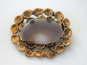 Vintage Pentti Sarpaneva Modernist Bronze Agate Brooch Pin Organic Finland Gold