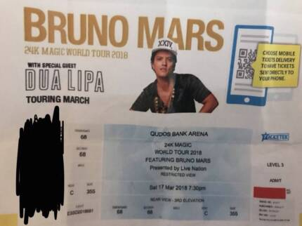 1 x Bruno Mars Sydney Saturday ticket section c