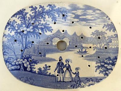 ANTIQUE BLUE & WHITE DRAINER - 20.5CM WIDE  - UNUSUAL  PATTERN