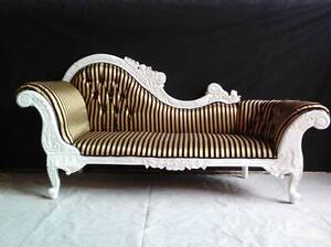 Stunning Black and Gold striped French style Chaise Malaga Swan Area Preview