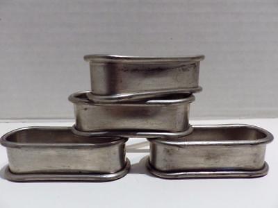 4 Preisner Pewter Oval Napkin Rings Vintage