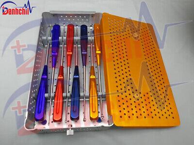 Spine Instruments Rainbow Cervical Curettes Steel Handle 8 Pcs Set With Box C-t