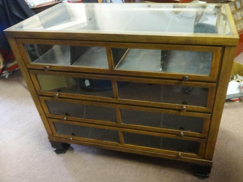 Antique Oak Ribbon Cabinet Store Display Near Mint Condition