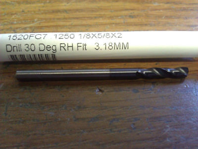 18 Stub Length Carbide Drill 1520fc7 .1250 X 18 X 58 X 2