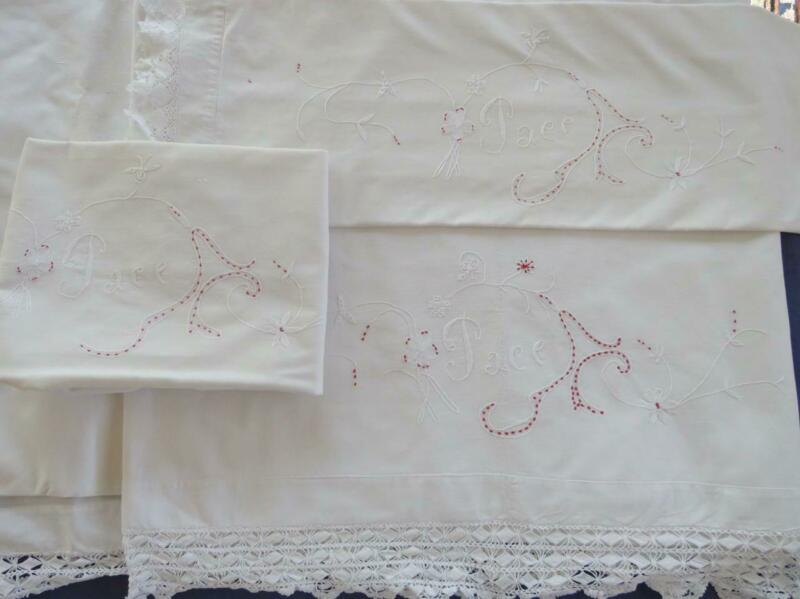 3pc Antique Set Cotton Top Sheet & 2 Pillowcases Italian Embroidery Crochet Lace