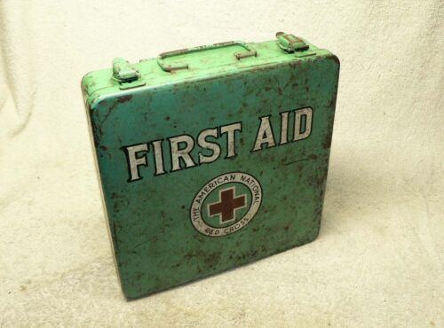 Vintage Green American National RED CROSS First Aid Kit, FULL Of Bandage Packs