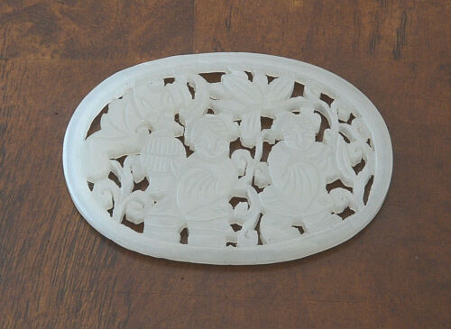 Nice  Hand  Carved  Chinese  White  Jade  Pendant    9