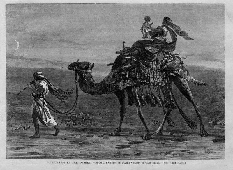 CAMEL ARABS HAPPINESS IN THE DESERT ANTIQUE ENGRAVING JADED CAMEL ARAB TRAVEL