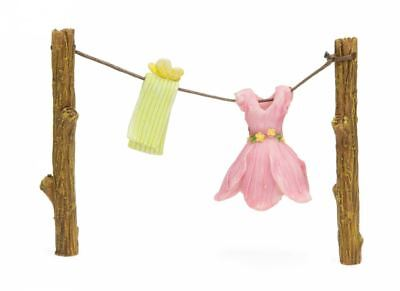 Miniature Dollhouse Fairy Garden Out to Dry Clothesline Laundry Clothes Figurine (Fairy Cloths)