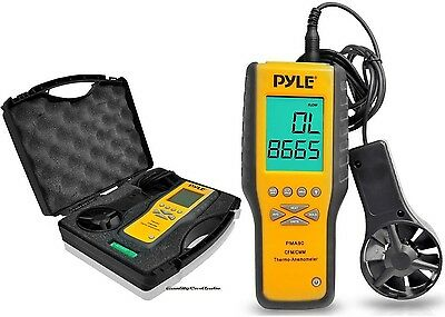 NEW Pyle PMA90 Digital Anemometer Thermometer Air Velocity Flow Temperature Case