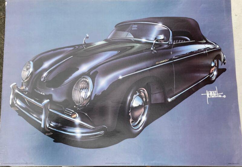 Rare Poster 1956 Porsche Speedster Mike Pickel striking 1982 painting