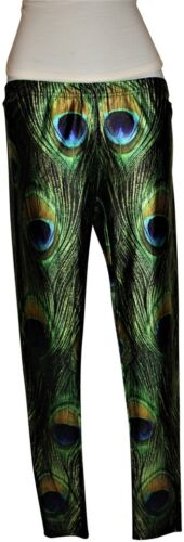 Peacock Print Spandex Nwot Leggings, Small - Long Stretch, Srp$68