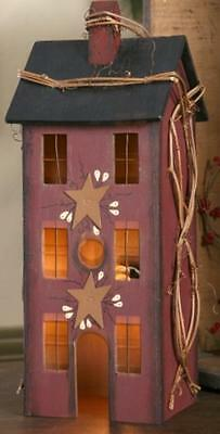 PRIMITIVE WOOD Burgundy ELECTRIC LIGHTED SALTBOX HOUSE