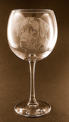 Etched Black Labrador Retriever on Elegant Wine Glasses (Set of 2)