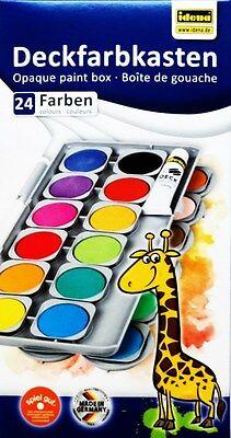 Deckfarbkasten Tuschkasten Idena 24 Farben + Deckweiß Farbkasten Tuschen Malen