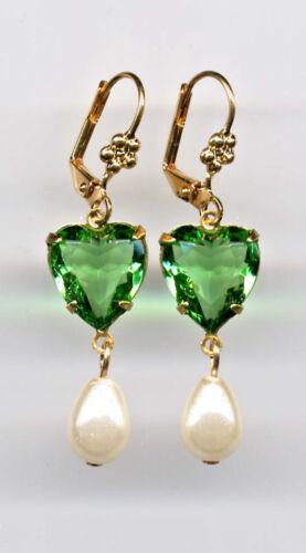 PERIDOT green HEART cut-crystal PEARL Teardrop Earrings 14K Gold gp *Vtg Czech