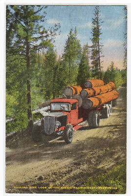 Logging Truck Pacific Northwest US 1950c linen postcard