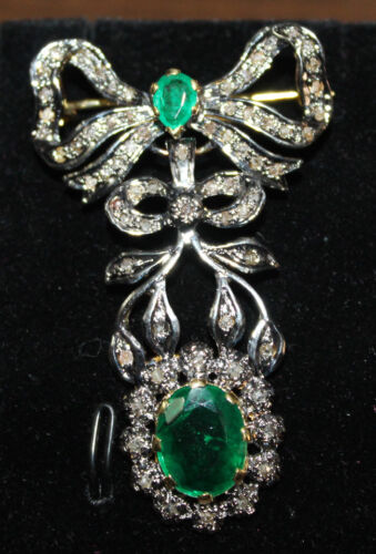 2.20cts ROSE CUT DIAMOND EMERALD ANTIQUE VICTORIAN LOOK 925 SILVER BROOCH PIN