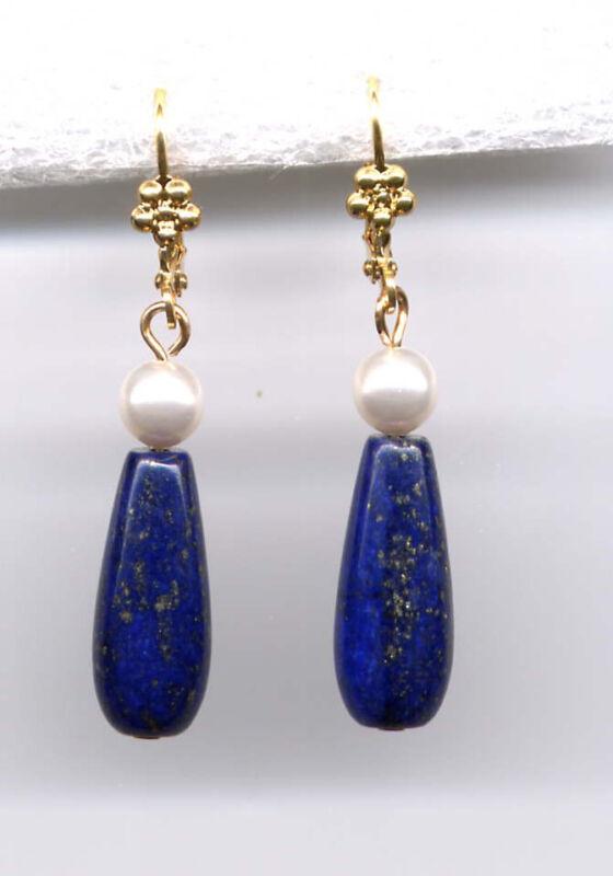 GENUINE BLUE LAPIS BRIOLETTE Teardrop PEARL EARRINGS 14K Gold gp Victorian Style