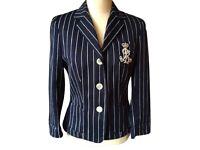Lauren Ralph Lauren - Navy with Cream Chalk Stripe Crested Style Blazer