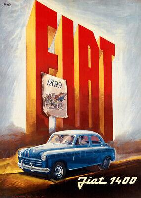 Fiat 1400 Italian Vintage Automobile Advertising Giclee Canvas Print 20x28