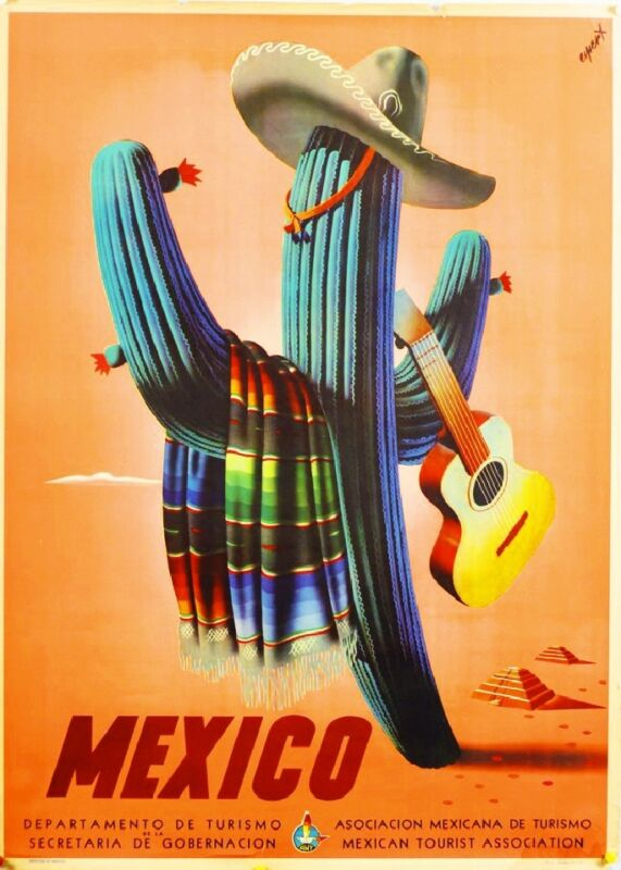 Mexico Cactus Guitar Mexican Spanish Vintage Travel Advertisement Art Poster