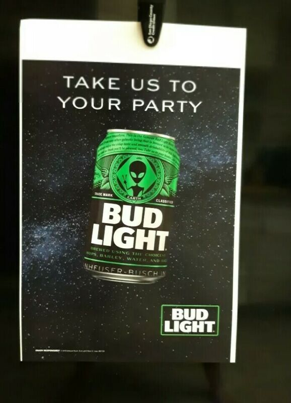 BUD LIGHT ALIEN AREA 51 RARE PROMO POSTER LIMITED EDITION NEW!