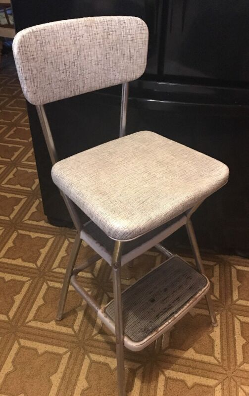 Vintage Mid Century Modern Cosco Stylaire Kitchen Chair Seat Step Stool MCM