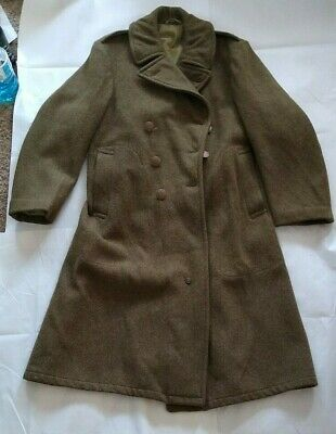 Vintage WWII Army Green Heavy Wool Overcoat Trench Coat