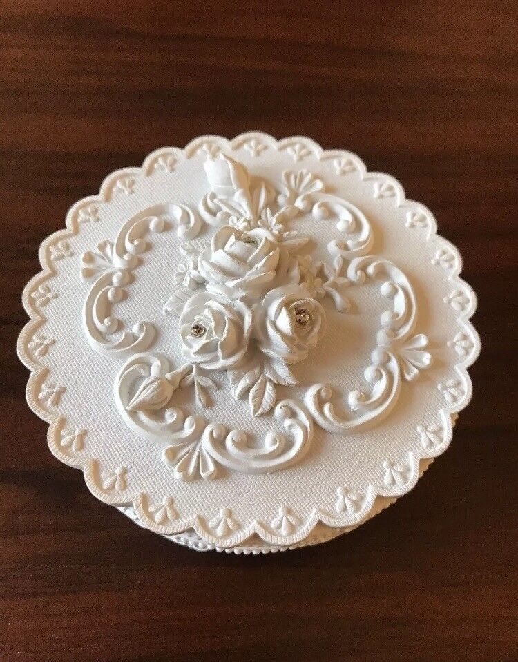 Ideal brand New Christmas Gift? Cream Ceramic Trinket Box with 3 diamanté on the lid. Brand New